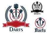 Darts sporting emblems or badges — Stockvektor