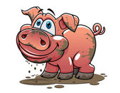 Cute little muddy cartoon pig — Stock Vector