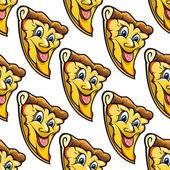 Seamless pattern of cheesy salami cartoon pizza slice — Stock Vector