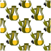 Seamless pattern of olive oil decanters — Stock Vector