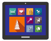 Set of assorted flat baby icons on a digital tablet — Vettoriale Stock