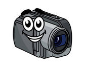 Happy gray cartoon video camera — Stock Vector