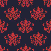 Seamless red colored floral arabesque pattern — Stock Vector