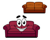 Happy cartoon upholstered couch — Stock Vector