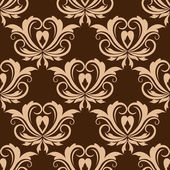 Damask brown seamless floral pattern — Stock Vector