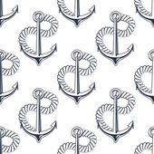 Marine anchor with curling rope — Vector de stock