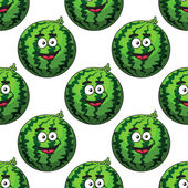 Seamless pattern of cartoon watermelons — Stock Vector