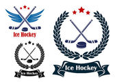Ice Hockey sports emblems — Stock Vector