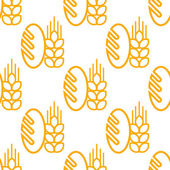 Seamless pattern of bread and bakery symbol — Stock Vector