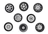 Car tyres set — Stock Vector