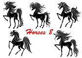 Black horse stallions set — Stock Vector