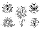 Black and white floral motifs of Persian paisleys — Stock Vector