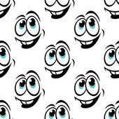 Seamless background pattern of cartoon happy faces — Stock Vector