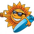 Cartoon sun character with sunglasses and surfboard — Stock Vector #51075723