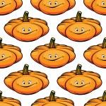 Cartoon smiling pumpkins seamless pattern — Stock Vector #51075757