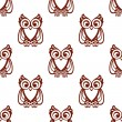Cartoon brown owl  seamless pattern — Stock Vector #51075759