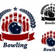 Bowling emblems with ball and ninepins — Stock Vector #51075793