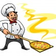 Cartoon baker chef cooking pizza — Stock Vector #51075809