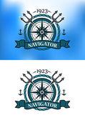 海洋の紋章のラベル — ストックベクタ