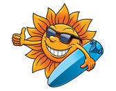 Cartoon sun character with sunglasses and surfboard — Stock Vector