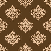 Beige colored  on brown floral arabesque seamless pattern — Stock Vector