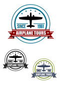 Airplane travel tours icon with plane — Stock Vector