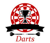 Darts emblem with trophy cup — Stock Vector