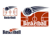 Basketball symbol with field and ball  — Vector de stock