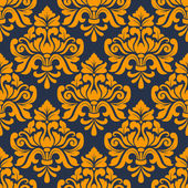 Orange colored floral arabesque seamless pattern — Stock Vector