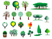 Abstract stylized tree icons  — Stock Vector