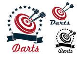 Darts sporting symbols and emblems — Stock Vector