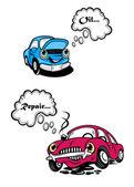 Two cartoon car characters — Stock Vector