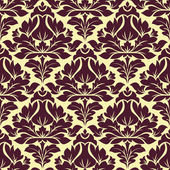 Floral seamless beige and purple damask pattern — Stock Vector