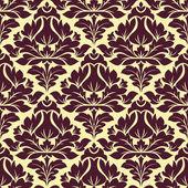 Floral seamless beige and purple damask pattern — Vecteur