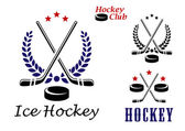 Ice hockey emblems and icons — Stock Vector