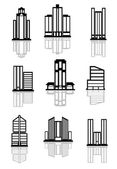 Skyscraper and office building icons — Vector de stock