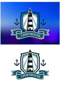 Marine banner with lighthouse and anchor — Stock Vector