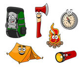 Cartoon camping and travel objects — Stock Vector