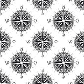 Seamless nautical pattern with old compass — Stock Vector