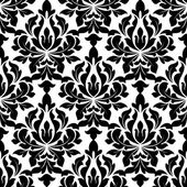 Black colored floral arabesque seamless pattern — Stock Vector