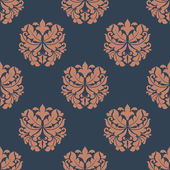 Brown colored on indigo floral seamless pattern — Stock Vector