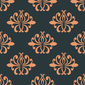 Retro seamless pattern with orange flowers — Stock Vector