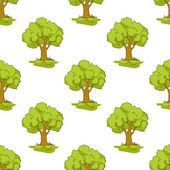 Green tree seamless background pattern — Stock Vector