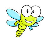 Cartoon dragonfly character — Stock Vector