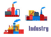 Flat factory industrial buildings — Stock Vector