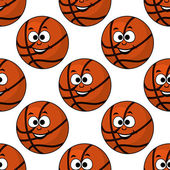 Cartoon smiling basketball seamless pattern — Stock Vector