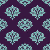 Turquoise colored floral seamless pattern — Cтоковый вектор