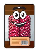 Cartoon meat chopped sausage in package  — Stock Vector