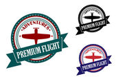 Premium flight adventures symbol — Stock Vector