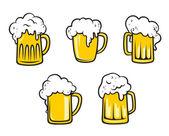 Glass beer tankards — Stock Vector